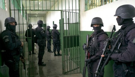 Special Operations Command personnel keep watch during a visit to the Anísio Jobim Penitentiary Complex --where 56 inmates were killed during a riot on two weeks ago, on January 14, 2017 in Manaus, Amazonas, Brazil . The Brazilian government deployed emergency personnel to secure prisons after a series of massacres. The reinforcements of police agents will bolster security around the prisons as well as helping search for 114 prisoners still on the run after violence at a jail in Manaus, Amazonas on January 2.   / AFP PHOTO / Raphael Alves