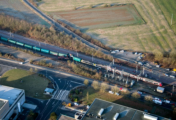 "This handout photo released by the Luxembourg's Police Grand-Ducale shows a passenger train and a freight train which collided near Dudelange in Luxembourg on February 14, 2017, killing one person and injuring several more, police said. The passenger service from Thionville in northeast France hit the goods train at Bettembourg near the French border around 0800 GMT, they said. / AFP PHOTO / POLICE GRAND-DUCALE / HO / RESTRICTED TO EDITORIAL USE - MANDATORY CREDIT ""AFP PHOTO / POLICE GRAND-DUCALE"" - NO MARKETING NO ADVERTISING CAMPAIGNS - DISTRIBUTED AS A SERVICE TO CLIENTS"