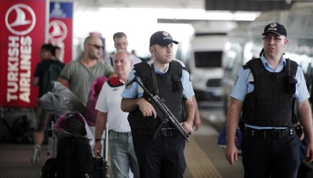Turkish police officers patrol outside Istanbul s Ataturk airport  Wednesday  June 29  2016  Suicide attackers killed dozens and wounded scores of others at Istanbul s busy Ataturk Airport late Tuesday  the latest in a series of bombings to strike Turkey in recent months  Turkish authorities have banned distribution of images relating to the Ataturk airport attack within Turkey   AP Photo Lefteris Pitarakis  TURKEY OUT