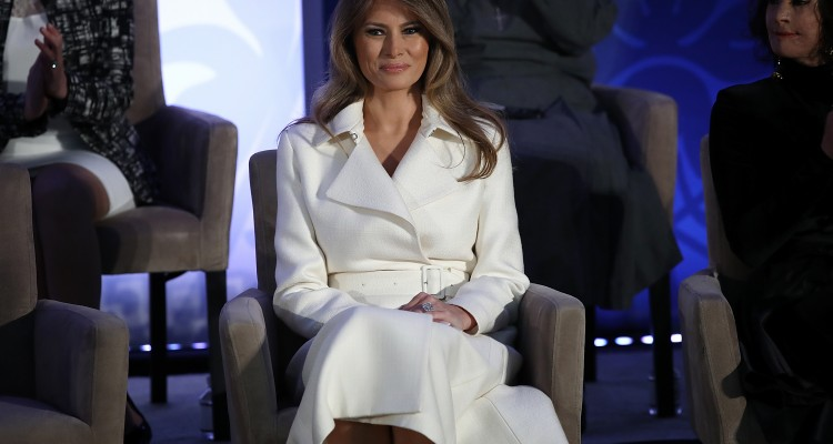 WASHINGTON, DC - MARCH 29: U.S. first lady Melania Trump attends the 2017 Secretary of State's International Women of Courage Award March 29, 2017 in Washington, DC. The award honors women who have demonstrated exceptional courage, strength, and leadership in acting to improve the lives of others.   Win McNamee/Getty Images/AFP