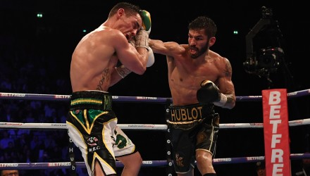 Venezuela's Jorge Linares (R) goes on the offensive en route to a unanimous decision victory over England's Anthony Crolla (L) in their WBA, WBC Diamond & Ring Magazine Lightweight Championship boxing match at the Manchester Arena in Manchester, north west England on March 25, 2017. / AFP PHOTO / Paul ELLIS