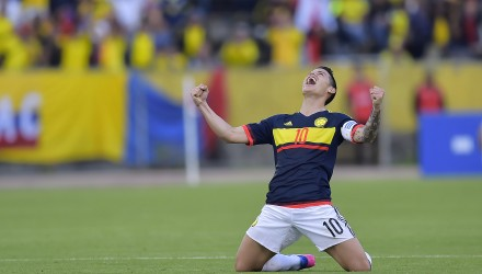 Colombia's midfielder James Rodriguez celebrates after winning 2-0 their 2018 FIFA World Cup qualifier football match against Ecuador in Quito on March 28, 2017. / AFP PHOTO / Rodrigo BUENDIA