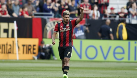 Mar 18, 2017; Atlanta, GA, USA; Atlanta United forward Josef Martinez (7) celebrates a goal against the Chicago Fire in the second half at Bobby Dodd Stadium at Historic Grant Field. Atlanta United FC won 4-0. Mandatory Credit: Brett Davis-USA TODAY Sports