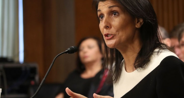WASHINGTON, DC - JANUARY 18: Gov. Nikki Haley, (R-SC), speaks during her Senate Foreign Relations Committee confirmation hearing on Capitol Hill, January 18, 2017 in Washington, DC. Haley was nominated by President-elect Donald Trump to become representative of the United States of America to the United Nations.   Mark Wilson/Getty Images/AFP