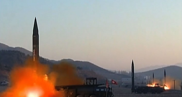"This screen grab taken from North Korean broadcaster KCTV on March 7, 2017 shows ballistic missiles being launced during a military drill from an undisclosed location in North Korea.  Nuclear-armed North Korea launched four ballistic missiles on March 6 in another challenge to President Donald Trump, with three landing provocatively close to America's ally Japan. / AFP PHOTO / KCTV / Handout /  - South Korea OUT / RESTRICTED TO EDITORIAL USE - MANDATORY CREDIT ""AFP PHOTO /KCTV"" - NO MARKETING NO ADVERTISING CAMPAIGNS - DISTRIBUTED AS A SERVICE TO CLIENTS"