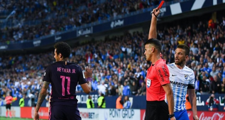MALAGA  SPAIN - APRIL 08   Neymar Jr  of FC Barcelona is shown a red card during the La Liga match between Malaga CF and FC Barcelona at La Rosaleda stadium on April 8  2017 in Malaga  Spain    Photo by David Ramos Getty Images