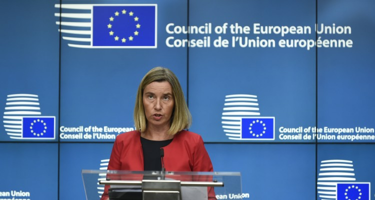 High Representative of the Union for Foreign Affairs and Security Policy / Vice-President of the Commission Federica Mogherini speaks during a joint press conference with the Egyptian Foreign Affairs minister and the European Commissioner for European Neighbourhood Policy and Enlargement Negotiations ( both unseen) following an EU-Egypt Association Council meeting at the EU headquarters in Brussels on July 25, 2017.  / AFP PHOTO / JOHN THYS