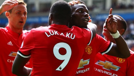 Manchester United's French midfielder Paul Pogba (R) celebrates with Manchester United's Belgian striker Romelu Lukaku (L) scoring the team's fourth goal during the English Premier League football match between Swansea City and Manchester United at The Liberty Stadium in Swansea, south Wales on August 19, 2017. / AFP PHOTO / Geoff CADDICK / RESTRICTED TO EDITORIAL USE. No use with unauthorized audio, video, data, fixture lists, club/league logos or 'live' services. Online in-match use limited to 75 images, no video emulation. No use in betting, games or single club/league/player publications.  /