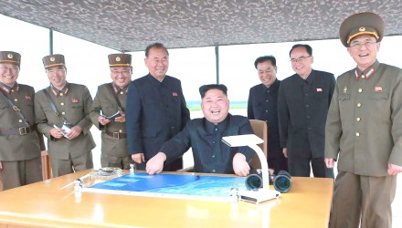 "This picture from North Korea's official Korean Central News Agency (KCNA) taken on August 29, 2017 and released on August 30, 2017 shows North Korean leader Kim Jong-Un (C) watching the launch of an intermediate-range strategic ballistic rocket Hwasong-12 at an undisclosed location near Pyongyang. Nuclear-armed North Korea said on August 30 that it had fired a missile over Japan the previous day, the first time it has ever acknowledged doing so. / AFP PHOTO / KCNA VIA KNS / STR / South Korea OUT / REPUBLIC OF KOREA OUT   ---EDITORS NOTE--- RESTRICTED TO EDITORIAL USE - MANDATORY CREDIT ""AFP PHOTO/KCNA VIA KNS"" - NO MARKETING NO ADVERTISING CAMPAIGNS - DISTRIBUTED AS A SERVICE TO CLIENTS THIS PICTURE WAS MADE AVAILABLE BY A THIRD PARTY. AFP CAN NOT INDEPENDENTLY VERIFY THE AUTHENTICITY, LOCATION, DATE AND CONTENT OF THIS IMAGE. THIS PHOTO IS DISTRIBUTED EXACTLY AS RECEIVED BY AFP.  / ""The erroneous mention[s] appearing in the metadata of this photo by STR has been modified in AFP systems in the following manner: [at an undisclosed location near Pyongyang] instead of [in Pyongyang]. Please immediately remove the erroneous mention[s] from all your online services and delete it (them) from your servers. If you have been authorized by AFP to distribute it (them) to third parties, please ensure that the same actions are carried out by them. Failure to promptly comply with these instructions will entail liability on your part for any continued or post notification usage. Therefore we thank you very much for all your attention and prompt action. We are sorry for the inconvenience this notification may cause and remain at your disposal for any further information you may require."""