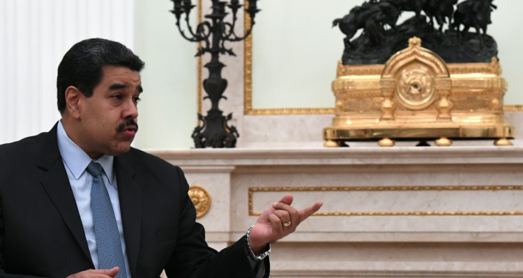 Venezuelan President Nicolas Maduro speaks during a meeting with his Russian counterpart at the Kremlin in Moscow on October 4, 2017. / AFP PHOTO / POOL / Yuri KADOBNOV