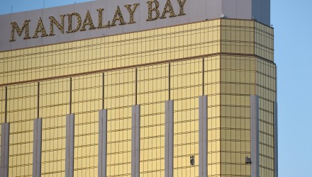 LAS VEGAS, NV - OCTOBER 02: Broken windows are seen on the 32nd floor of the Mandalay Bay Resort and Casino after a lone gunman opened fired on the Route 91 Harvest country music festival on October 2, 2017 in Las Vegas, Nevada. The gunman, identified as Stephen Paddock, 64, of Mesquite, Nevada, allegedly opened fire from the Mandalay Bay Resort and Casino on the music festival, leaving at least 50 people dead and hundreds injured. Police have confirmed that one suspect has been shot. The investigation is ongoing.   David Becker/Getty Images/AFP
