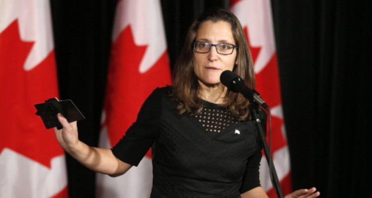 Minister of Foreign Affairs Chrystia Freeland answers questions before attending the Liberal cabinet retreat in Calgary, Alta., Monday, Jan. 23, 2017.THE CANADIAN PRESS/Todd Korol